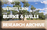 Marker post - text reads - Website link Burke & Wills Research Archive